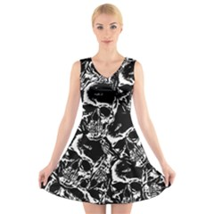 Skulls Pattern V Neck Sleeveless Skater Dress by ValentinaDesign