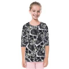 Skulls Pattern Kids  Quarter Sleeve Raglan Tee by ValentinaDesign
