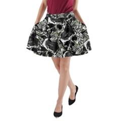 Skulls pattern A-Line Pocket Skirt by ValentinaDesign