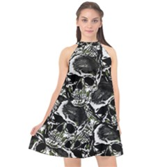 Skulls Pattern Halter Neckline Chiffon Dress  by ValentinaDesign