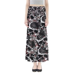 Skulls Pattern Maxi Skirts by ValentinaDesign