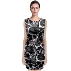 Skulls Pattern Classic Sleeveless Midi Dress by ValentinaDesign