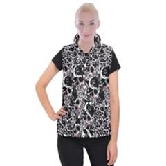 Skull Pattern Women s Button Up Puffer Vest by ValentinaDesign