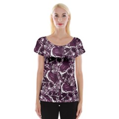 Skull Pattern Women s Cap Sleeve Top by ValentinaDesign