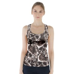 Skull Pattern Racer Back Sports Top by ValentinaDesign