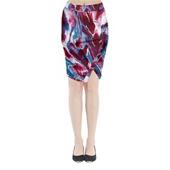 Blue Red White Marble Pattern Midi Wrap Pencil Skirt by Costasonlineshop