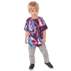 Blue Red White Marble Pattern Kids  Raglan Tee by Costasonlineshop