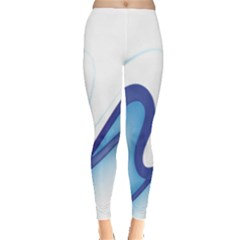 Glittering Abstract Lines Blue Wave Chefron Leggings  by Mariart