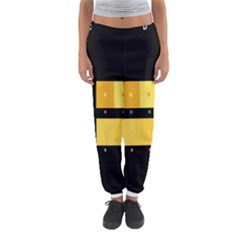 Horizontal Color Scheme Plaid Black Yellow Women s Jogger Sweatpants by Mariart
