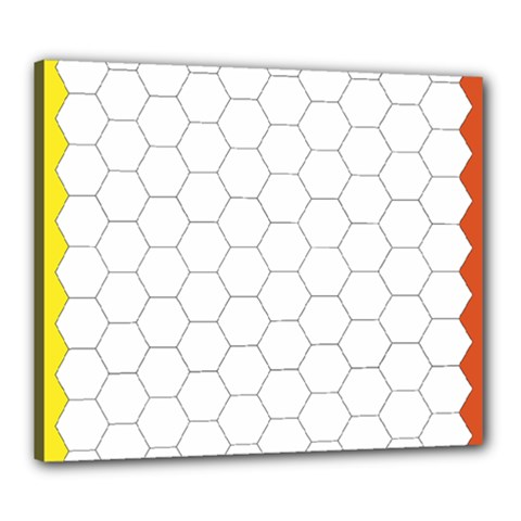 Hex Grid Plaid Green Yellow Blue Orange White Canvas 24  X 20  by Mariart