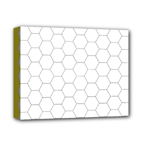 Hex Grid Plaid Green Yellow Blue Orange White Deluxe Canvas 14  X 11  by Mariart