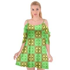 Clipart Aztec Green Yellow Cutout Spaghetti Strap Chiffon Dress
