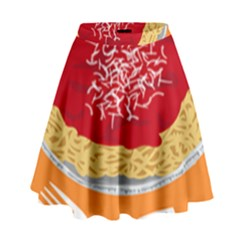 Instant Noodles Mie Sauce Tomato Red Orange Knife Fox Food Pasta High Waist Skirt by Mariart