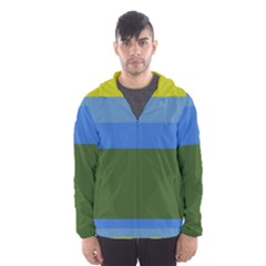 Plaid Green Blue Yellow Hooded Wind Breaker (men) by Mariart