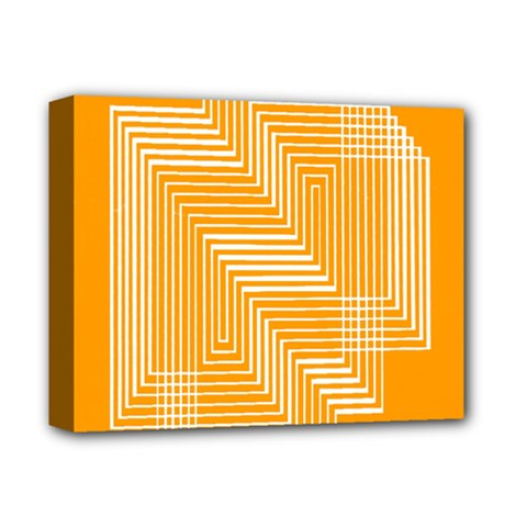 Orange Line Plaid Deluxe Canvas 14  X 11  by Mariart