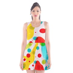 Polkadot Color Rainbow Red Blue Yellow Green Scoop Neck Skater Dress by Mariart