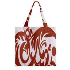 Sign Red Polka Zipper Grocery Tote Bag by Mariart