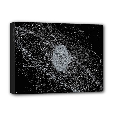 Space X Circle Line Black Deluxe Canvas 16  X 12   by Mariart