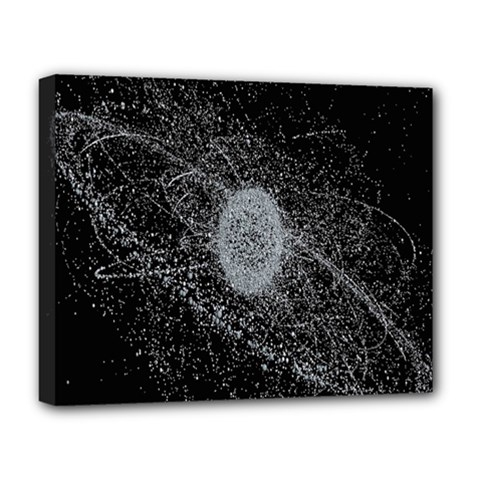 Space X Circle Line Black Deluxe Canvas 20  X 16   by Mariart