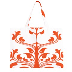 Tree Leaf Flower Orange Sexy Star Zipper Large Tote Bag by Mariart