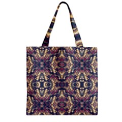 Multicolored Modern Geometric Pattern Zipper Grocery Tote Bag by dflcprints