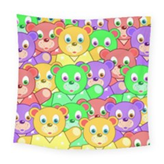 Cute Cartoon Crowd Of Colourful Kids Bears Square Tapestry (large) by Nexatart