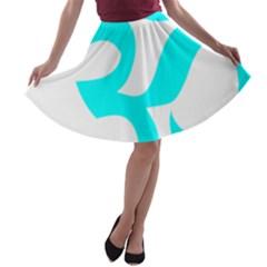 Hindu Om Symbol (cyan) A Line Skater Skirt by abbeyz71