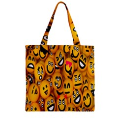 Smileys Linus Face Mask Cute Yellow Zipper Grocery Tote Bag by Mariart