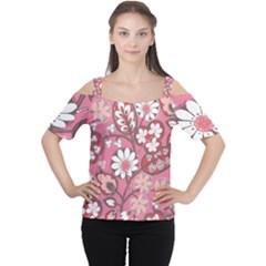 Pink Flower Pattern Women s Cutout Shoulder Tee