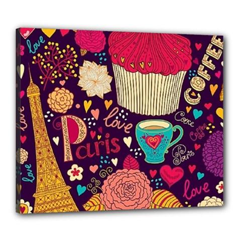 Cute Colorful Doodles Colorful Cute Doodle Paris Canvas 24  X 20  by Nexatart