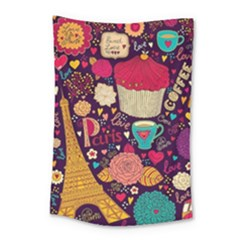 Cute Colorful Doodles Colorful Cute Doodle Paris Small Tapestry by Nexatart