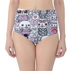 Kawaii Graffiti And Cute Doodles High Waist Bikini Bottoms by Nexatart