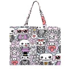 Kawaii Graffiti And Cute Doodles Zipper Large Tote Bag by Nexatart