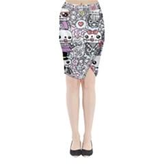 Kawaii Graffiti And Cute Doodles Midi Wrap Pencil Skirt by Nexatart