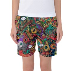 Monsters Colorful Doodle Women s Basketball Shorts by Nexatart