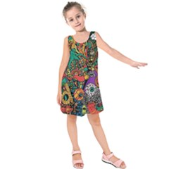Monsters Colorful Doodle Kids  Sleeveless Dress by Nexatart