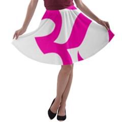 Hindu Om Symbol (pink) A Line Skater Skirt by abbeyz71