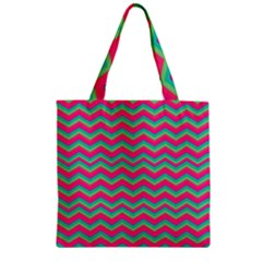 Retro Pattern Zig Zag Zipper Grocery Tote Bag by Nexatart