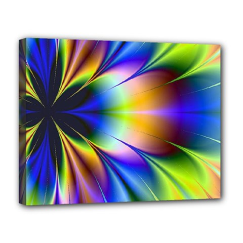 Bright Flower Fractal Star Floral Rainbow Canvas 14  X 11  by Mariart