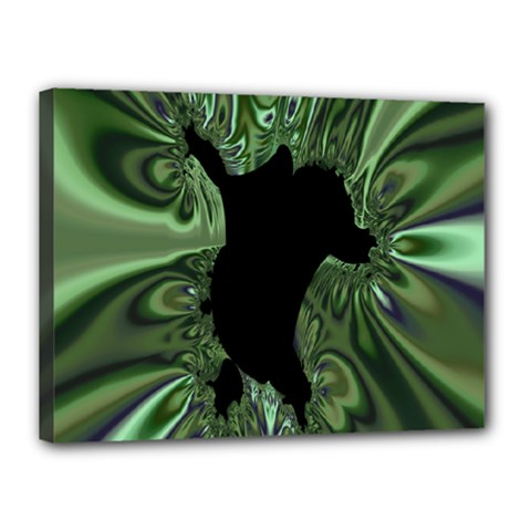 Hole Space Silver Black Canvas 16  X 12  by Mariart