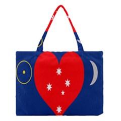 Love Heart Star Circle Polka Moon Red Blue White Medium Tote Bag by Mariart