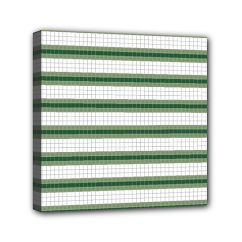 Plaid Line Green Line Horizontal Mini Canvas 6  X 6  by Mariart