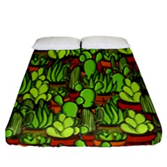 Cactus Fitted Sheet (queen Size) by Valentinaart