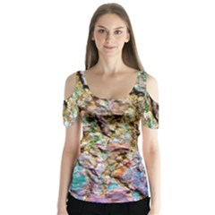 Abstract Background Wallpaper 1 Butterfly Sleeve Cutout Tee  by Costasonlineshop