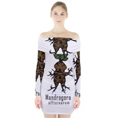 Mandrake Plant Long Sleeve Off Shoulder Dress by Valentinaart