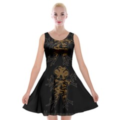 Mandrake Plant Velvet Skater Dress by Valentinaart
