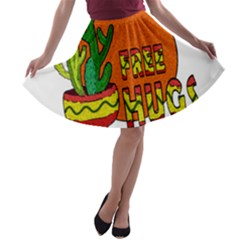 Cactus   Free Hugs A Line Skater Skirt by Valentinaart