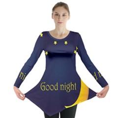 Star Moon Good Night Blue Sky Yellow Light Long Sleeve Tunic  by Mariart