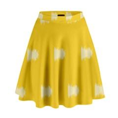 Waveform Disco Wahlin Retina White Yellow High Waist Skirt by Mariart