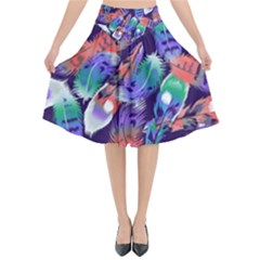 Bird Feathers Color Rainbow Animals Fly Flared Midi Skirt by Mariart